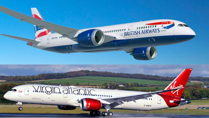 A British Airways 787 Dreamliner and A Virgin Atlantic 787 Dreamliner.