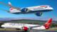 A British Airways 787 Dreamliner and A Virgin Atlantic 787 Dreamliner.