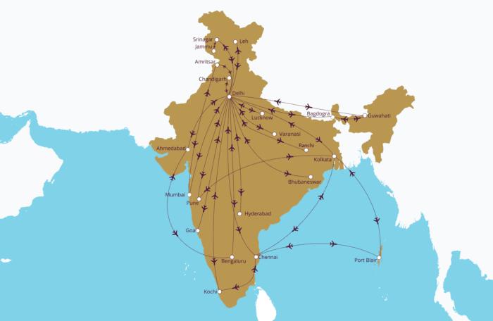Vistara's current route map