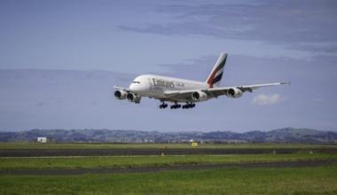 An Emirates A380 landing.