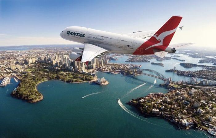 A Qantas A380 glides over Sydney.