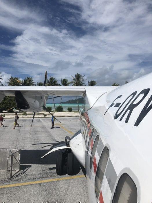 Boarding an Air Tahiti flight in Bora Bora!