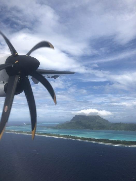 Coming into land at Bora Bora