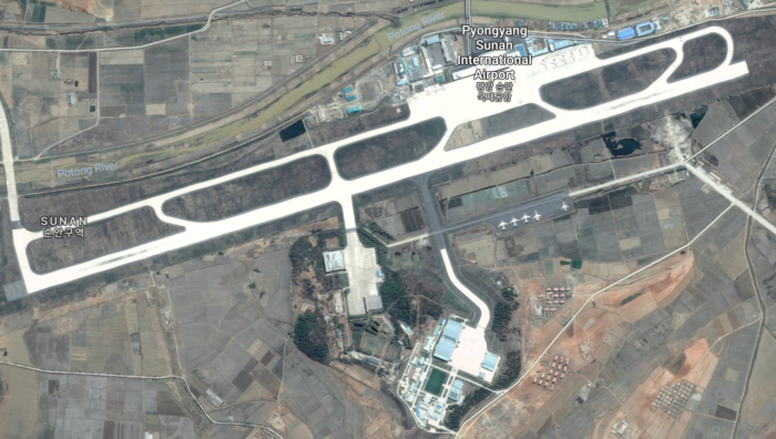 A satellite photo of Pyongyang Airport
