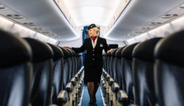 British Airways Interior with flight attendant