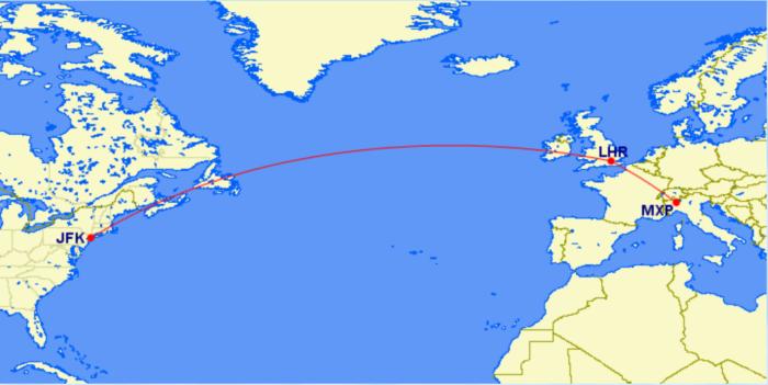BA JFK-MXP via LHR