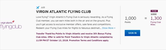 Citi ThankYou transfer bonus to Virgin Atlantic