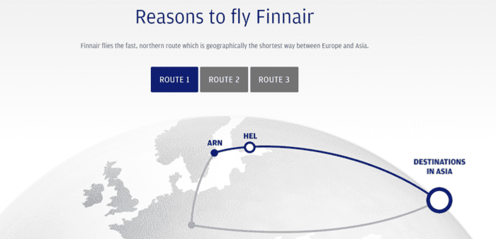 Finnair flies the most direct route to Asia