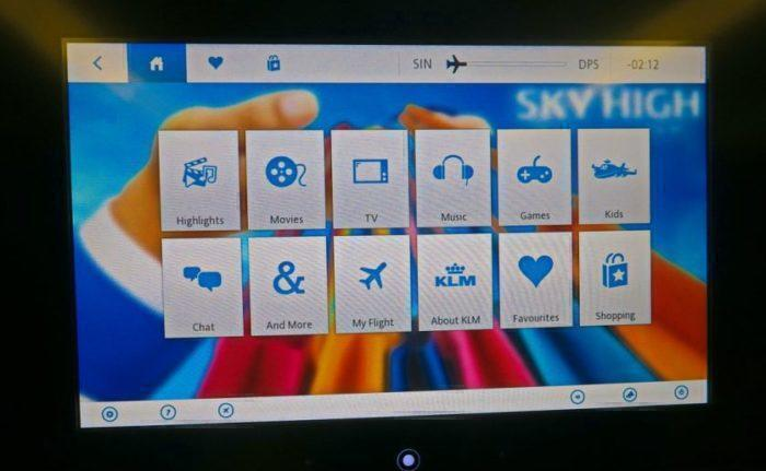 KLM in flight entertainment