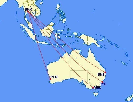Thai airways routes to australia