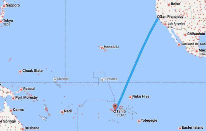 United airlines route to tahiti