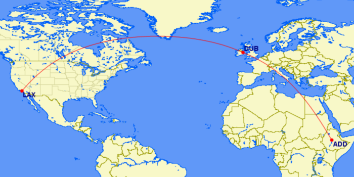 ADD-DUB-LAX Ethiopian Airlines route