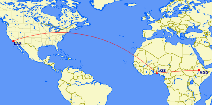ADD-LOS-LAX Ethiopian Airlines route