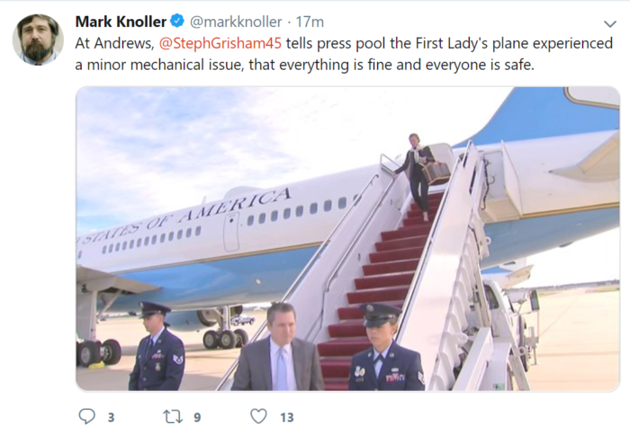 Emergency aboard First lady's aircraft