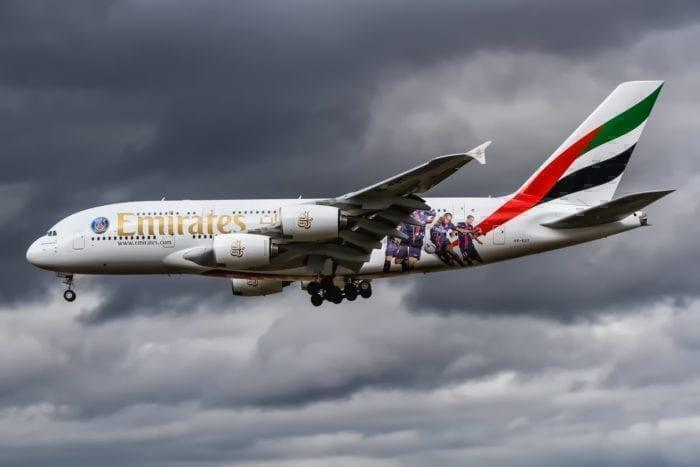 Emirates a380 stormy skies