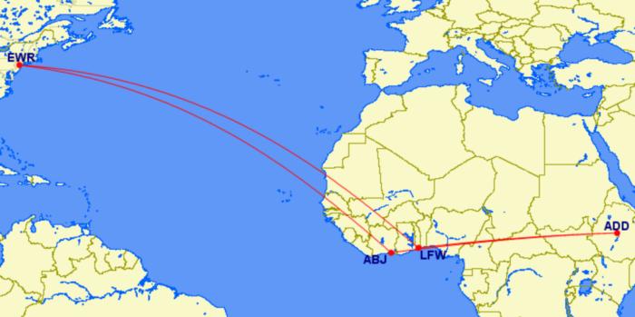 Ethiopian route to Newark