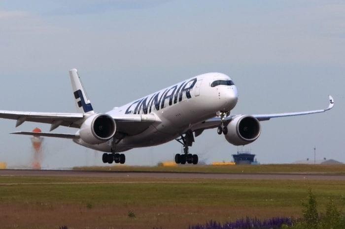 A Finnair A350 taking off.