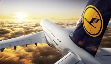 Lufthansa A380 at sunset