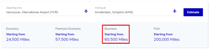 Vancouver to Amsterdam in Business