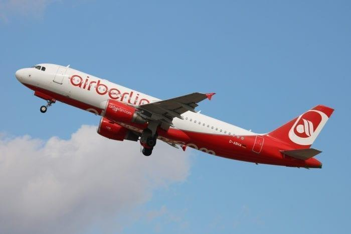 An Air Berlin jet takes off right before their closure.