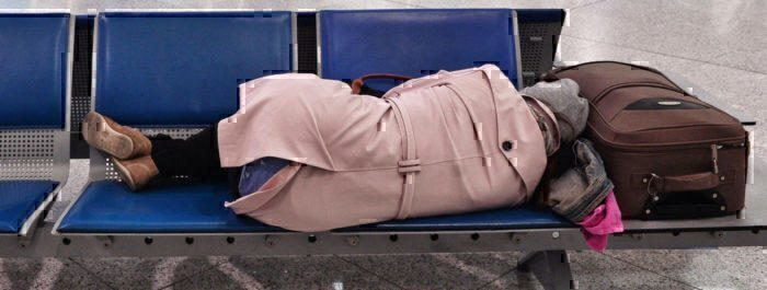 Sleeping in an airport