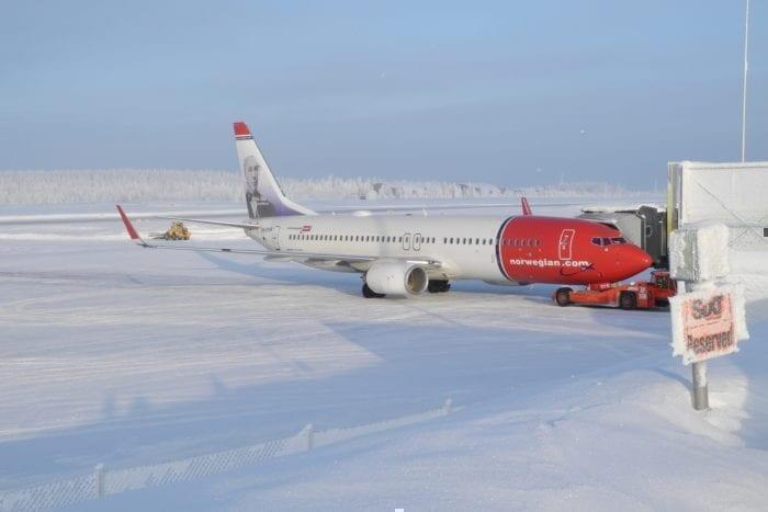 Norwegian airlines in the snow