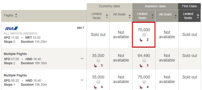 SFO to Tokyo NRT in business class