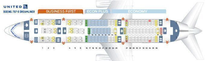 Seat map united 787