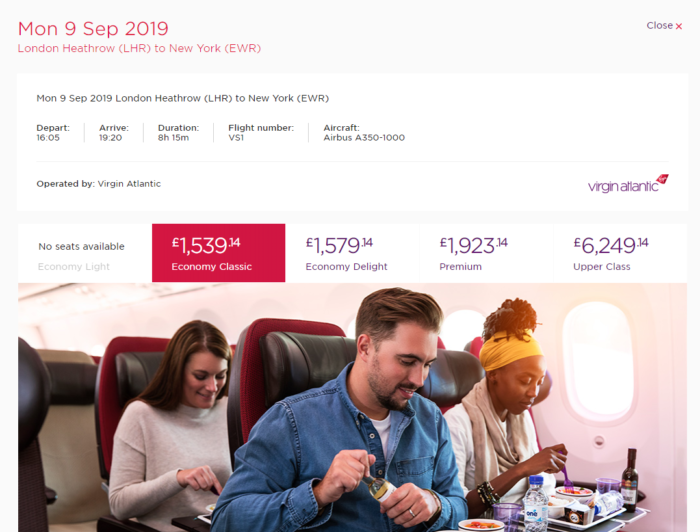 Virgin Atlantic to Newark