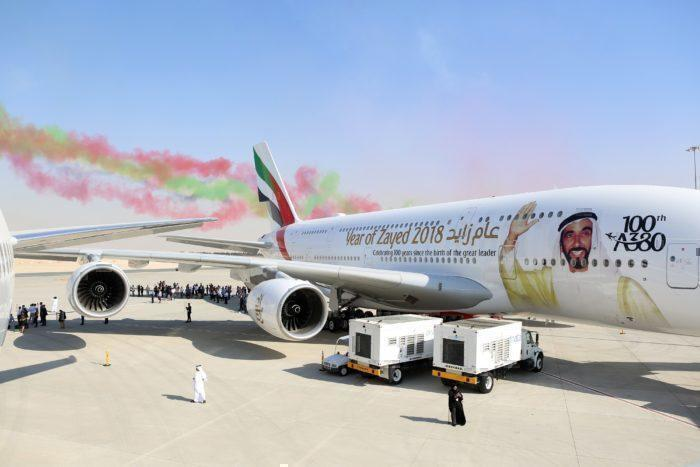 emirates A380 at air show