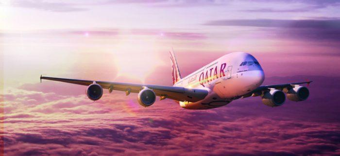 qatar airways sunset