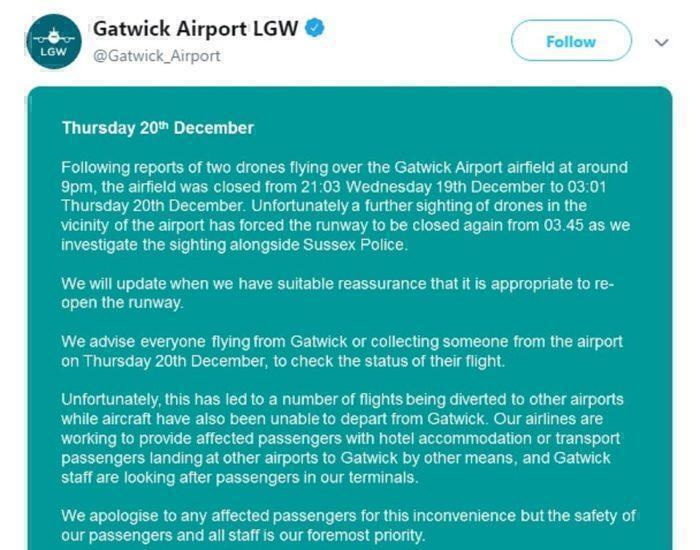 London Gatwick Airport Still Closed After Multiple Drone Sightings