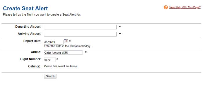 ExpertFlyer.com create seat alert