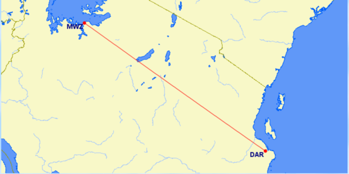 The route from Mwanza, in the west of Tanzania, to Dar es Salaam