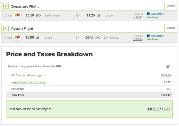 SFO to LIS TAP Air business
