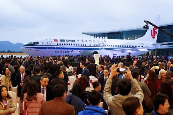 Ceremony marking 1st delivery of Boeing 737 Max airplane to Air China in Zhoushan