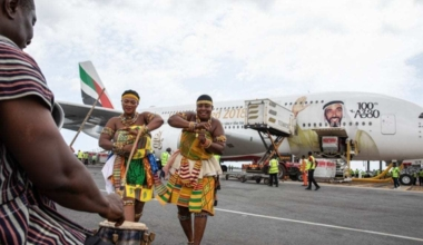 Emirates first A380 to ghana