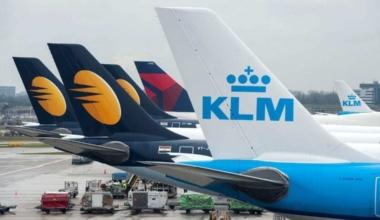 Delta, KLM, and Jet Airways Tails