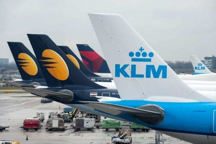 Delta, KLM, and Jet Airways Tails
