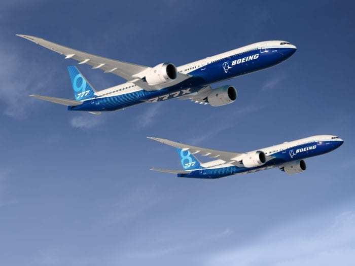 A rendering of the 777-9X and 777-8X.