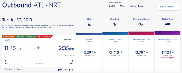 Delta One booking