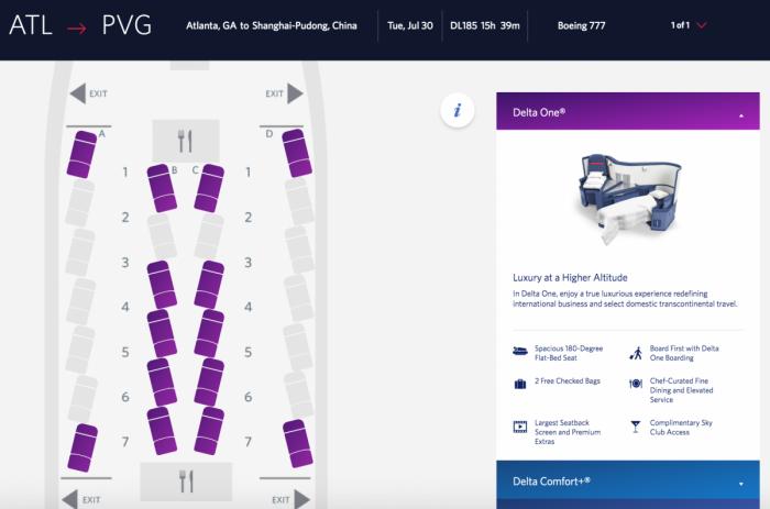 Delta herringbone seatmap