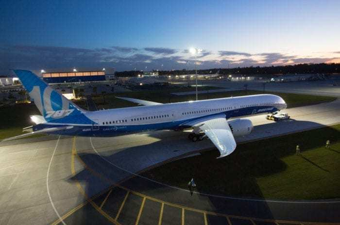 The first 787 produced in Charleston