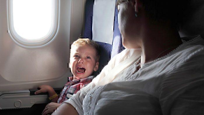 screaming child on plane