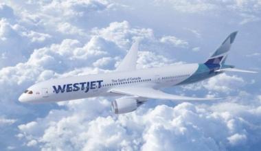 Westjet 787 Dreamliner in flight