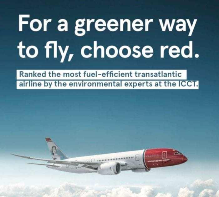 Norwegian most fuel-efficient transatlantic airline