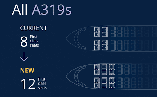 United A319 reconfiguration