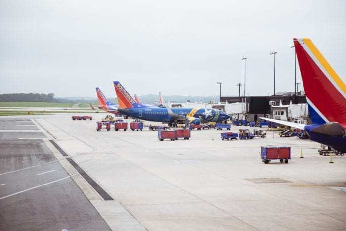 Southwest airplanes parked at airport