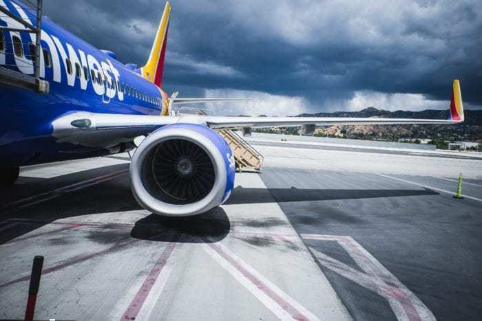 Close up of Southwest airplane