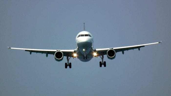 Mid-sized airplane landing